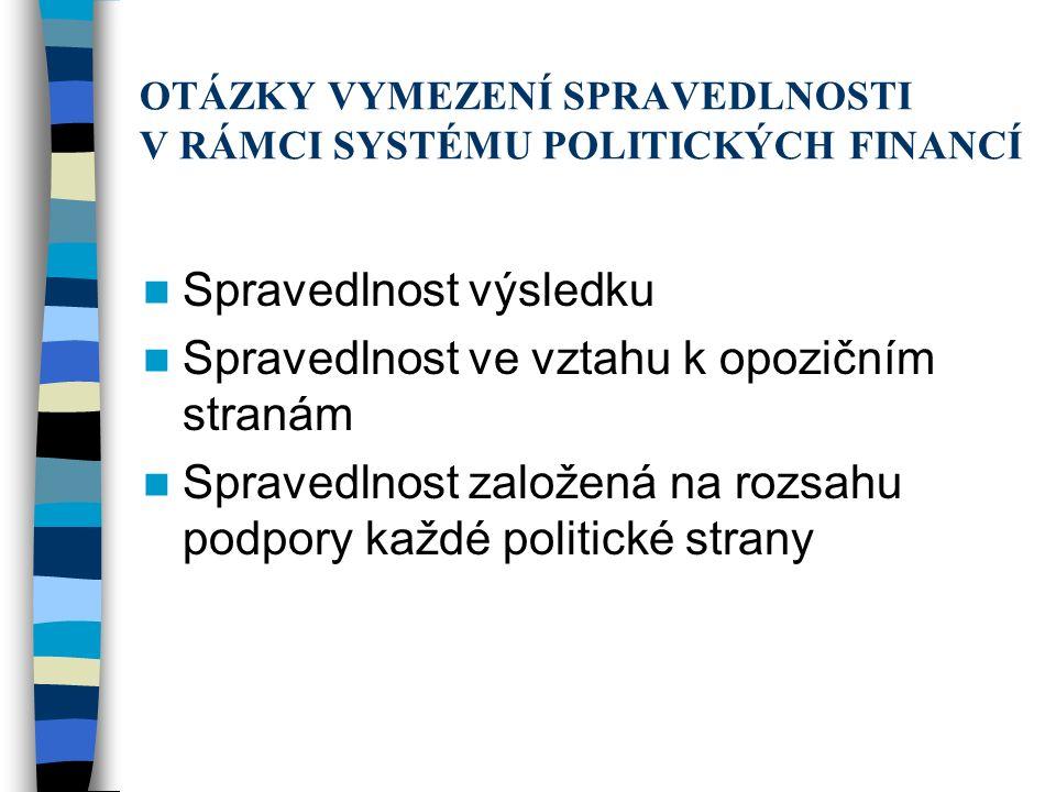 OTÁZKY VYMEZENÍ SPRAVEDLNOSTI V RÁMCI SYSTÉMU POLITICKÝCH FINANCÍ Spravedlnost výsledku Spravedlnost ve vztahu k opozičním stranám Spravedlnost založená na rozsahu podpory každé politické strany