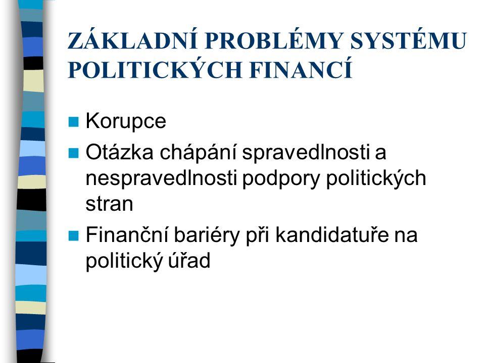 ZÁKLADNÍ PROBLÉMY SYSTÉMU POLITICKÝCH FINANCÍ Korupce Otázka chápání spravedlnosti a nespravedlnosti podpory politických stran Finanční bariéry při kandidatuře na politický úřad