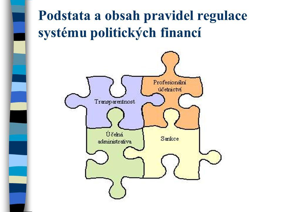 Vynucení a sankce Je potřeba arzenál sankcí proměnlivých stupňů přísnosti k podpoře pravidel financování politických stran a politiků.