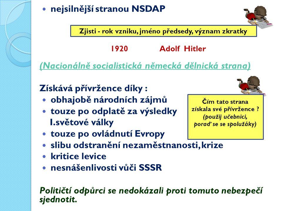 nejsilnější stranou NSDAP (Nacionálně socialistická německá dělnická strana) Získává přívržence díky : obhajobě národních zájmů touze po odplatě za výsledky I.světové války touze po ovládnutí Evropy slibu odstranění nezaměstnanosti, krize kritice levice nesnášenlivosti vůči SSSR Političtí odpůrci se nedokázali proti tomuto nebezpečí sjednotit.