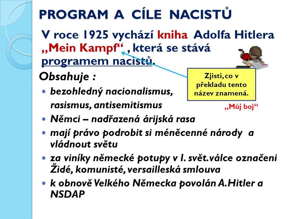 Cíle nacistů : sjednotit Německo pod vládou pevné ruky obnovit Velké Německo (Třetí říše) spojením všech Němců zlikvidovat nezaměstnanost, krizi dát lidem práci vypořádat se s nepřáteli – komunisty, sociálními demokraty, Židy, Romy … Oporou NSDAP byly : = úderné oddíly, zal.