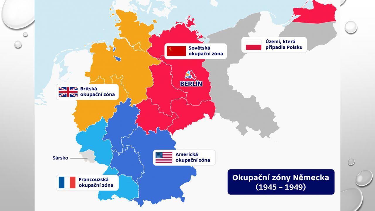 1948 MĚNOVÁ REFORMA VRCHOLÍ PŘÍPRAVY VZNIKU ZÁPADONĚMECKÉHO STÁTU STALIN NA TOTO REAGUJE BLOKÁDOU BERLÍNA PRVNÍ BERLÍNSKÁ KRIZE ODŘÍZNUTÍ MĚSTA OD ZÁSOBOVÁNÍ, OBKLÍČENÍ BRITSKÝCH, AMERICKÝCH A FRANCOUZSKÝCH POSÁDEK BERLÍN ZÁSOBOVÁN LETECKÝM MOSTEM PO 14 MĚSÍCŮ 1949 ZÁŘÍ – VYHLÁŠENA SPOLKOVÁ REPUBLIKA NĚMECKO (SRN – ZÁPADNÍ NĚMECKO) 1949 ŘÍJEN – VYHLÁŠENA NĚMECKÁ DEMOKRATICKÁ REPUBLIKA (NDR – VÝCHODNÍ NĚMECKO)
