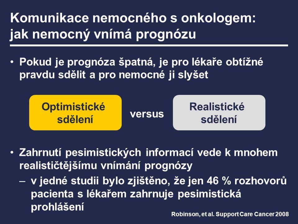 Komunikace nemocného s onkologem: jak nemocný vnímá prognózu Pokud je prognóza špatná, je pro lékaře obtížné pravdu sdělit a pro nemocné ji slyšet Zahrnutí pesimistických informací vede k mnohem realističtějšímu vnímání prognózy –v jedné studii bylo zjištěno, že jen 46 % rozhovorů pacienta s lékařem zahrnuje pesimistická prohlášení Robinson, et al.