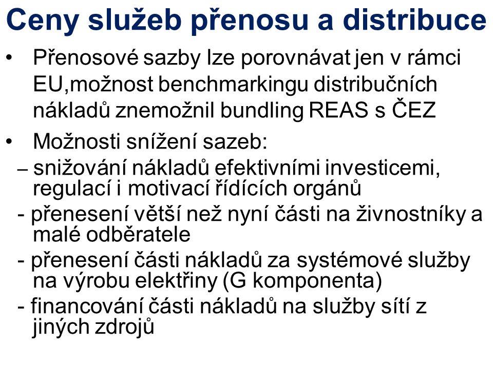 Ceny služeb přenosu a distribuce Přenosové sazby lze porovnávat jen v rámci EU,možnost benchmarkingu distribučních nákladů znemožnil bundling REAS s ČEZ Možnosti snížení sazeb: – snižování nákladů efektivními investicemi, regulací i motivací řídících orgánů - přenesení větší než nyní části na živnostníky a malé odběratele - přenesení části nákladů za systémové služby na výrobu elektřiny (G komponenta) - financování části nákladů na služby sítí z jiných zdrojů