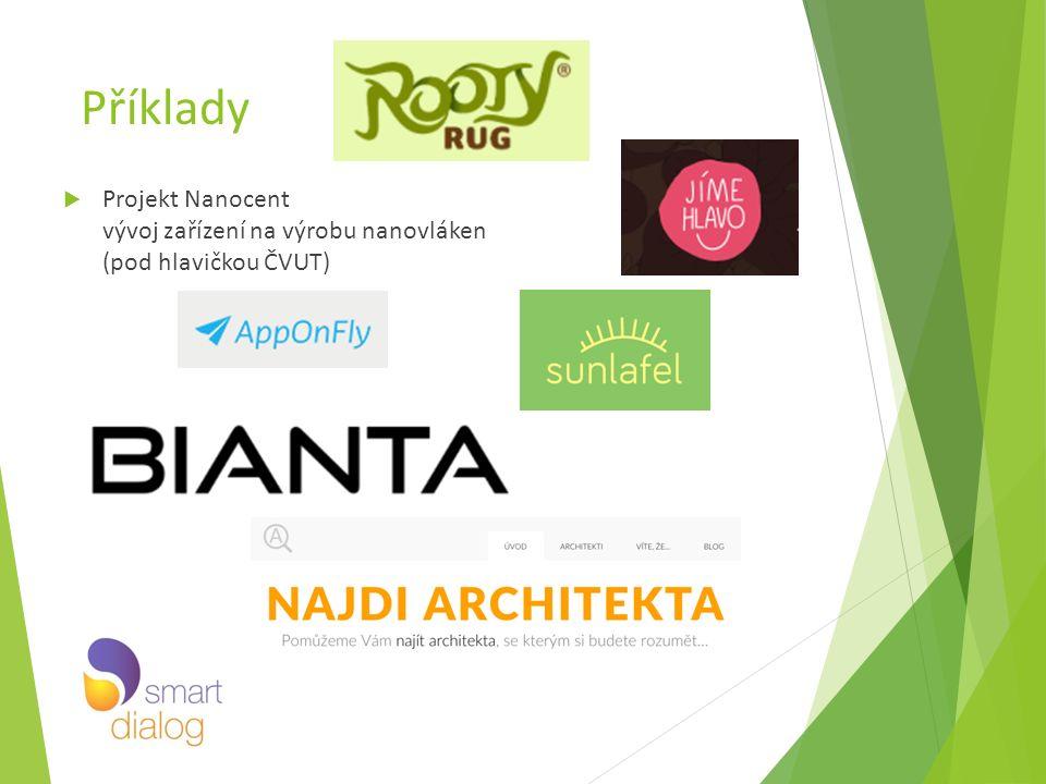 Příklady  Projekt Nanocent vývoj zařízení na výrobu nanovláken (pod hlavičkou ČVUT)