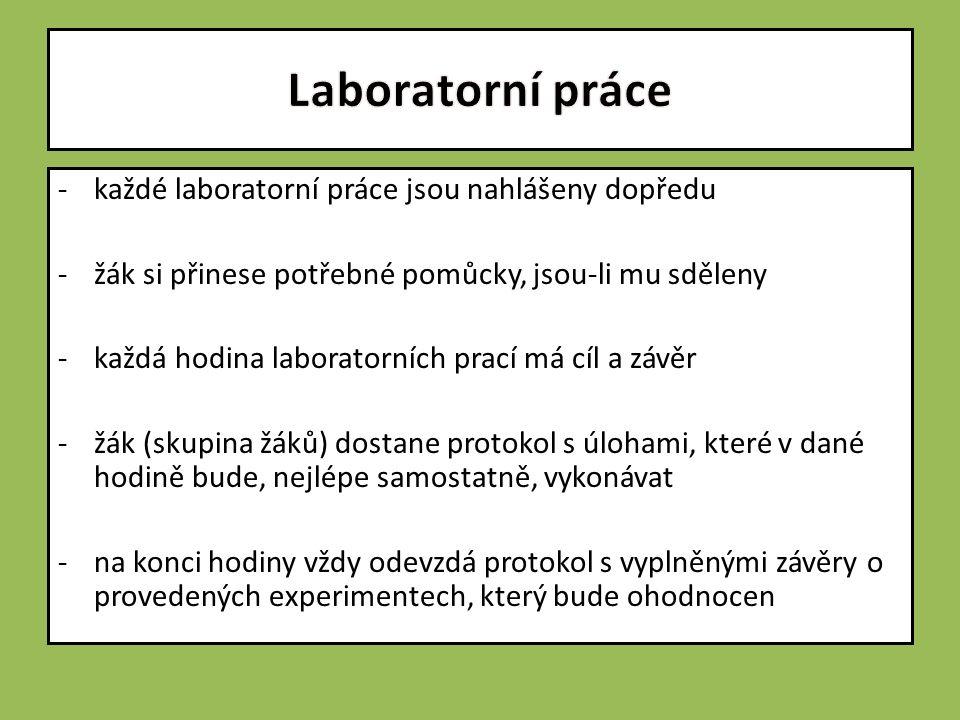 -každé laboratorní práce jsou nahlášeny dopředu -žák si přinese potřebné pomůcky, jsou-li mu sděleny -každá hodina laboratorních prací má cíl a závěr -žák (skupina žáků) dostane protokol s úlohami, které v dané hodině bude, nejlépe samostatně, vykonávat -na konci hodiny vždy odevzdá protokol s vyplněnými závěry o provedených experimentech, který bude ohodnocen