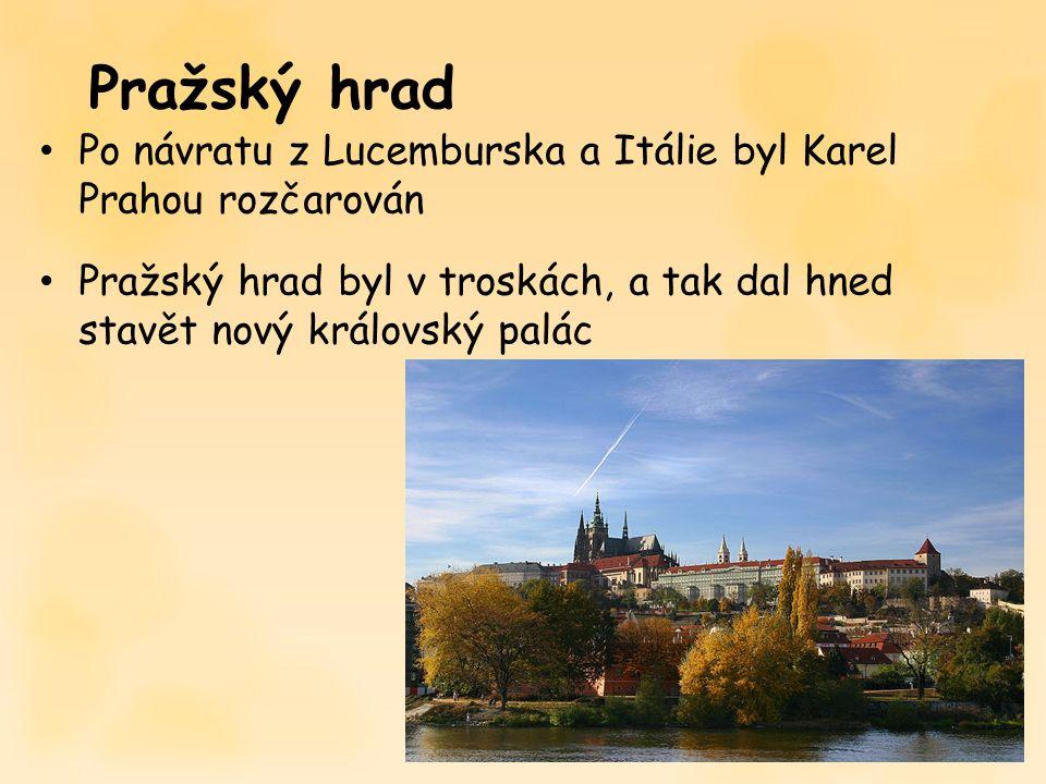 Po návratu z Lucemburska a Itálie byl Karel Prahou rozčarován Pražský hrad byl v troskách, a tak dal hned stavět nový královský palác Pražský hrad