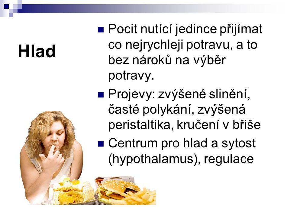 Hlad Pocit nutící jedince přijímat co nejrychleji potravu, a to bez nároků na výběr potravy.