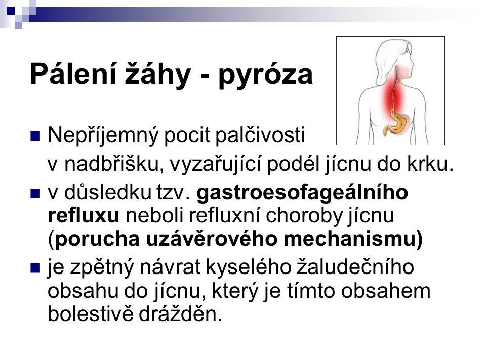 Pálení žáhy - pyróza Nepříjemný pocit palčivosti v nadbřišku, vyzařující podél jícnu do krku.