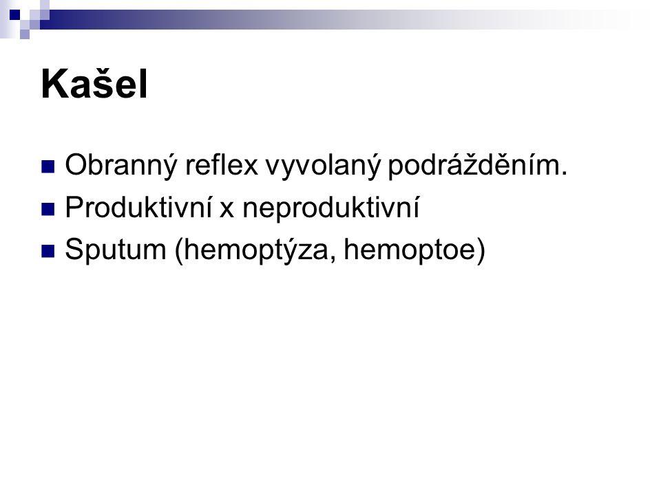 Kašel Obranný reflex vyvolaný podrážděním. Produktivní x neproduktivní Sputum (hemoptýza, hemoptoe)
