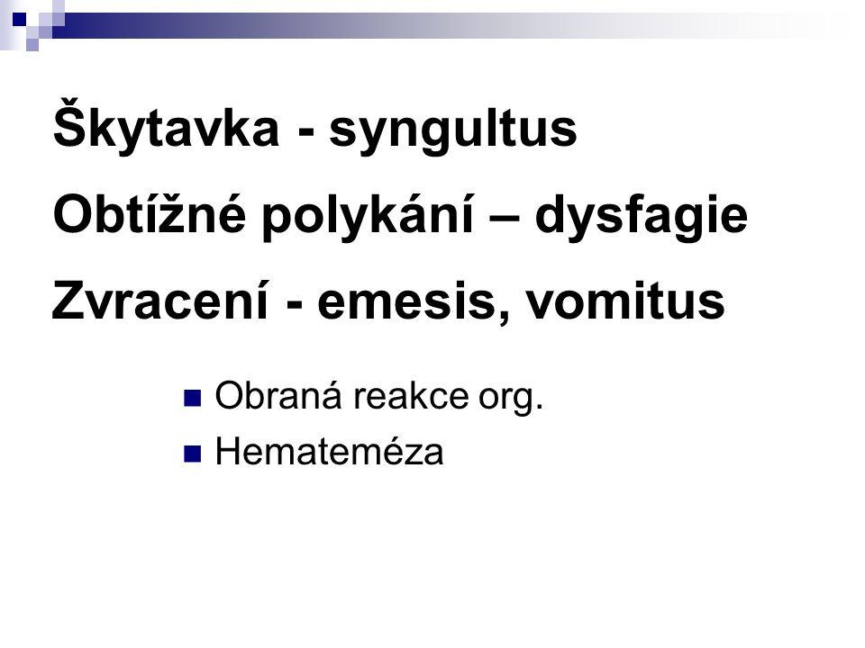 Škytavka - syngultus Obtížné polykání – dysfagie Zvracení - emesis, vomitus Obraná reakce org.
