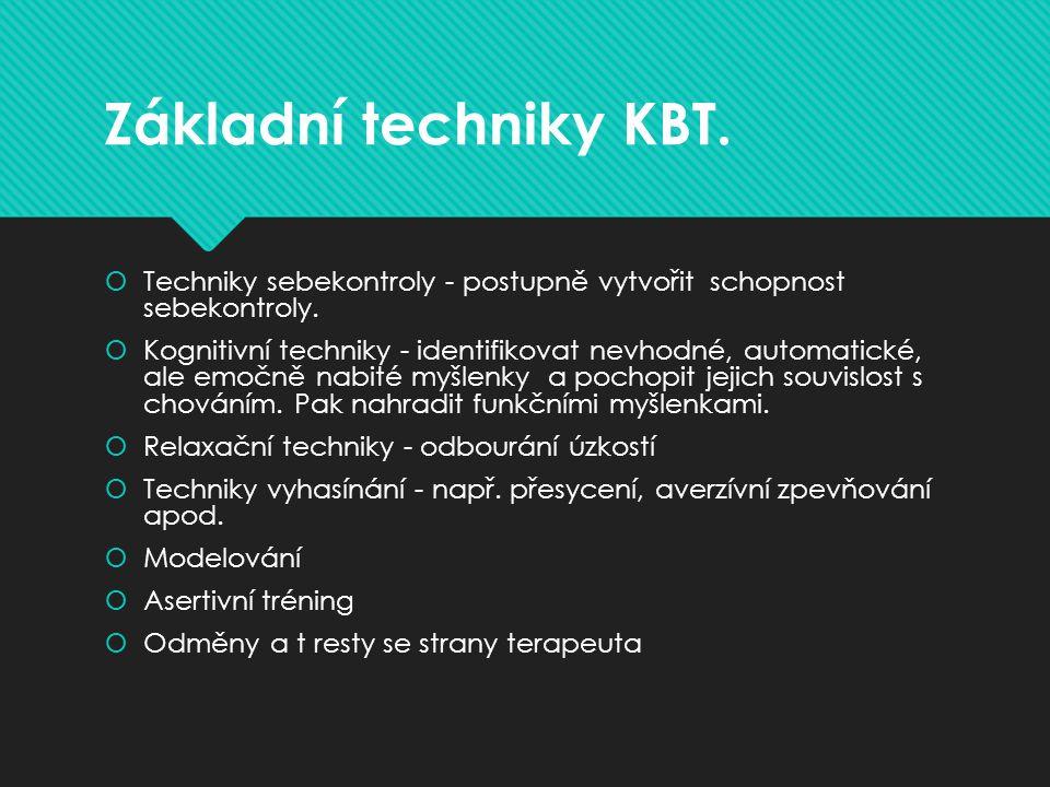 Základní techniky KBT.  Techniky sebekontroly - postupně vytvořit schopnost sebekontroly.