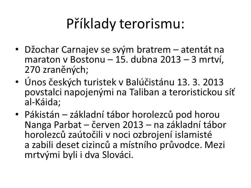 Příklady terorismu: Džochar Carnajev se svým bratrem – atentát na maraton v Bostonu – 15.