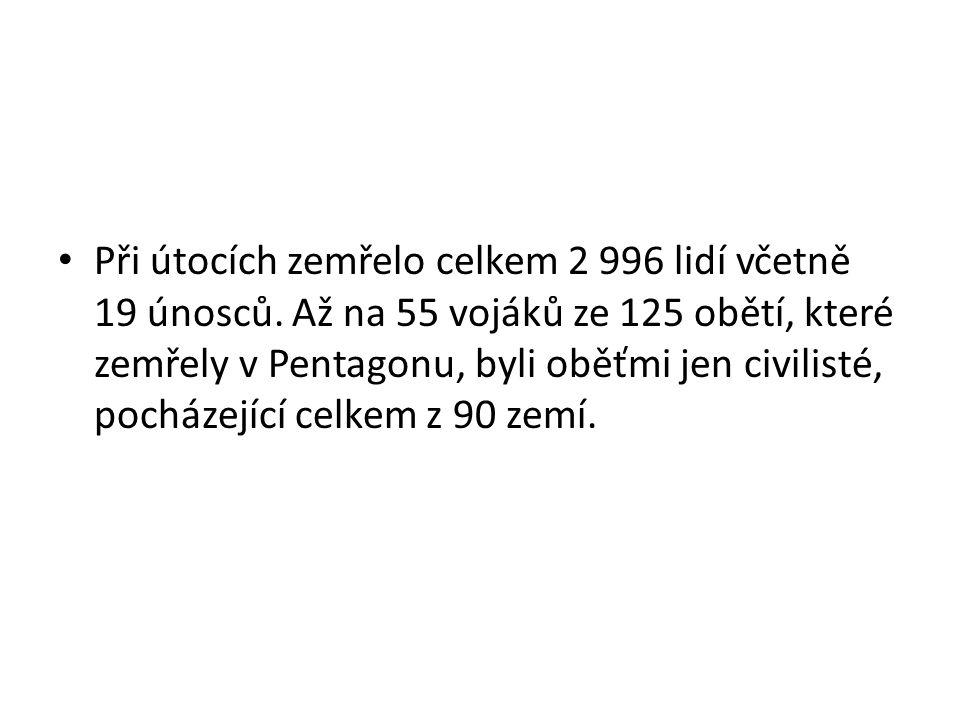 Při útocích zemřelo celkem 2 996 lidí včetně 19 únosců.