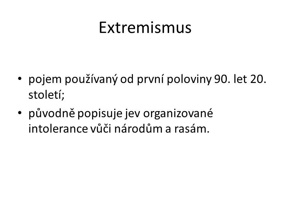 Extremismus pojem používaný od první poloviny 90. let 20.