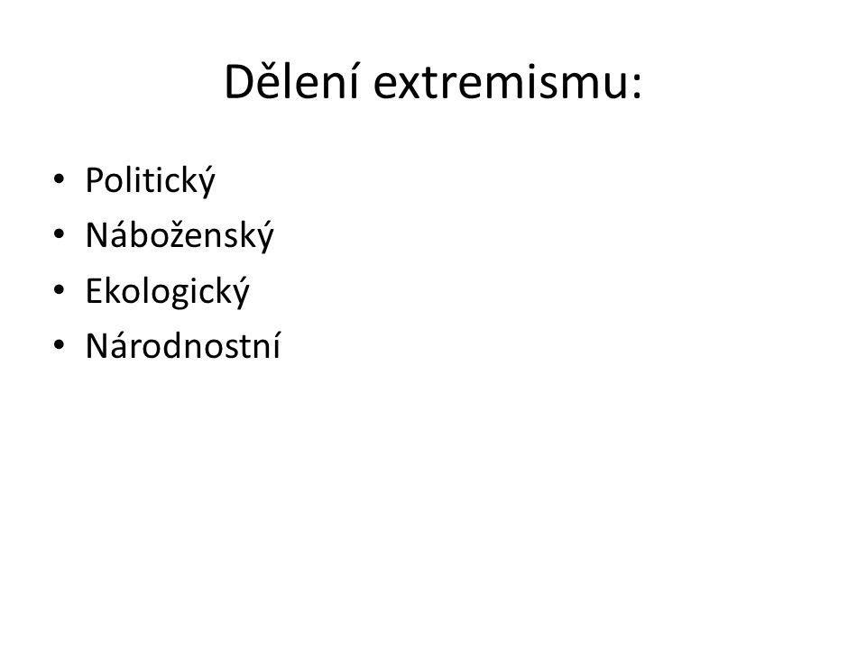 Dělení extremismu: Politický Náboženský Ekologický Národnostní