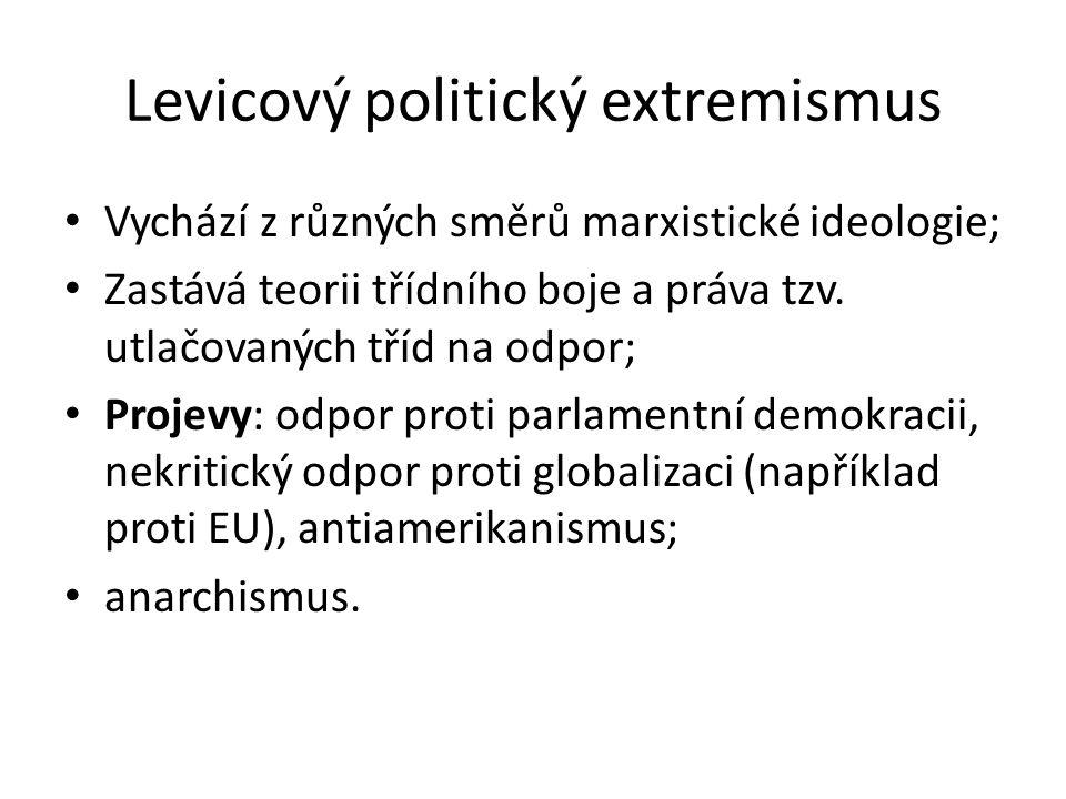 Levicový politický extremismus Vychází z různých směrů marxistické ideologie; Zastává teorii třídního boje a práva tzv.