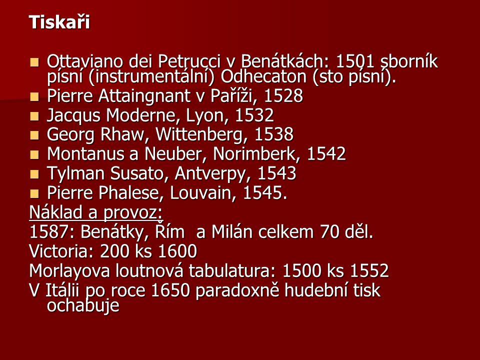 Tiskaři Ottaviano dei Petrucci v Benátkách: 1501 sborník písní (instrumentální) Odhecaton (sto písní).