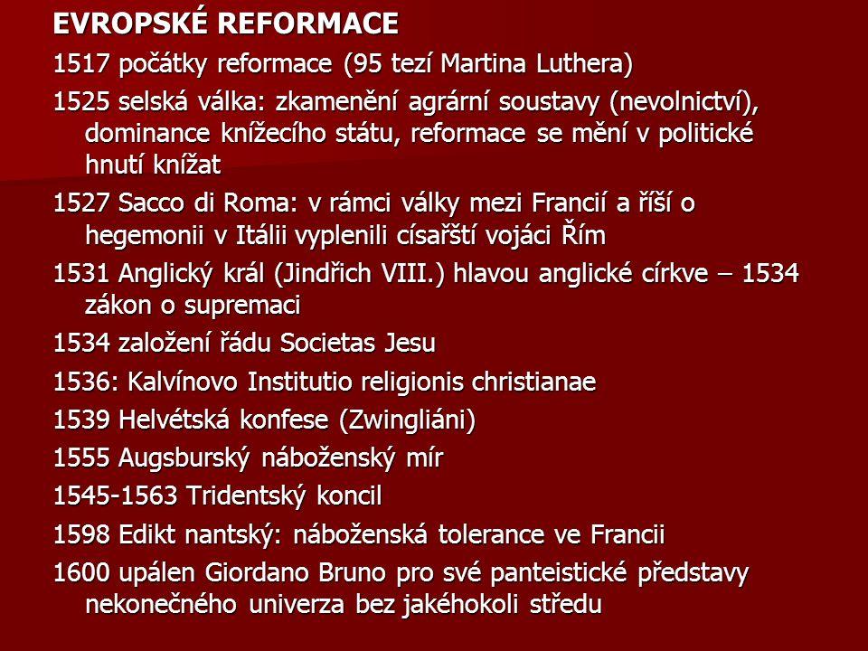 EVROPSKÉ REFORMACE 1517 počátky reformace (95 tezí Martina Luthera) 1525 selská válka: zkamenění agrární soustavy (nevolnictví), dominance knížecího státu, reformace se mění v politické hnutí knížat 1527 Sacco di Roma: v rámci války mezi Francií a říší o hegemonii v Itálii vyplenili císařští vojáci Řím 1531 Anglický král (Jindřich VIII.) hlavou anglické církve – 1534 zákon o supremaci 1534 založení řádu Societas Jesu 1536: Kalvínovo Institutio religionis christianae 1539 Helvétská konfese (Zwingliáni) 1555 Augsburský náboženský mír 1545-1563 Tridentský koncil 1598 Edikt nantský: náboženská tolerance ve Francii 1600 upálen Giordano Bruno pro své panteistické představy nekonečného univerza bez jakéhokoli středu