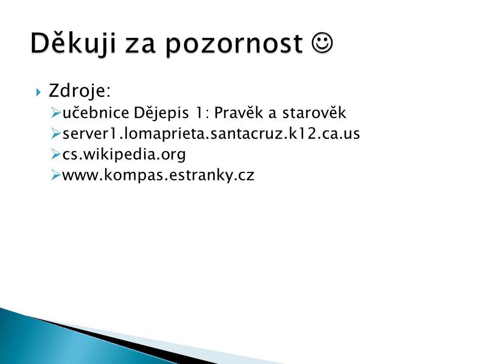  Zdroje:  učebnice Dějepis 1: Pravěk a starověk  server1.lomaprieta.santacruz.k12.ca.us  cs.wikipedia.org  www.kompas.estranky.cz