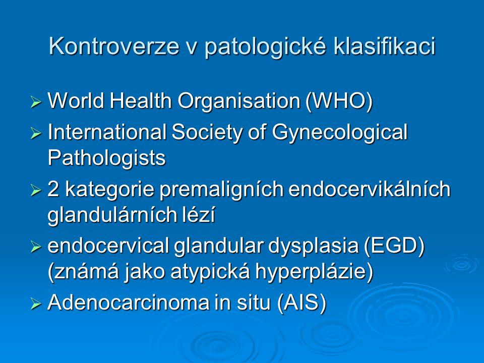 Kontroverze v patologické klasifikaci  CGIN terminologie  UK - Royal College of Pathologists and the National Health Service cervical screening programme.