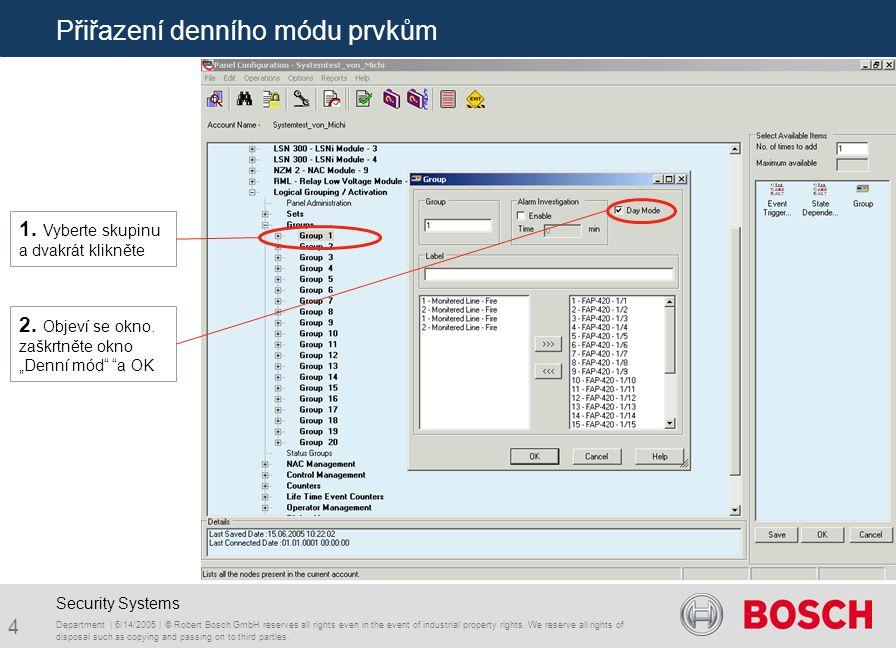15 Přiřazení funkcí na kontakt relé RML modulu.