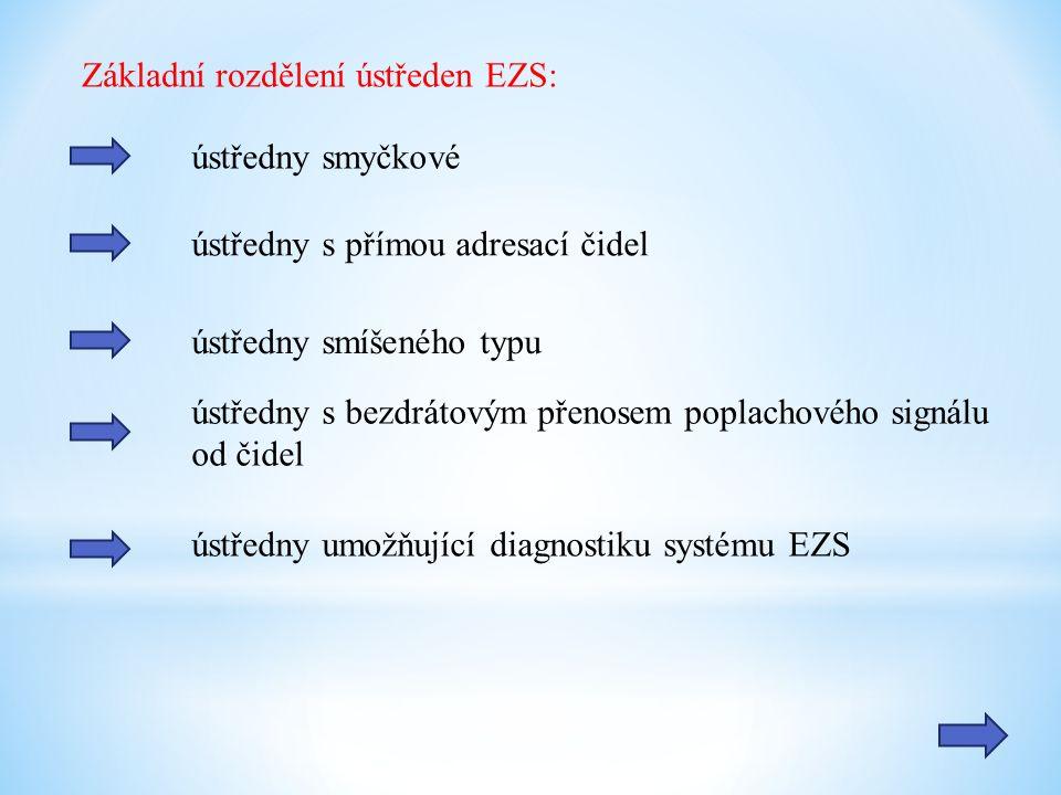 Základní rozdělení ústředen EZS: ústředny smyčkové ústředny s přímou adresací čidel ústředny smíšeného typu ústředny s bezdrátovým přenosem poplachového signálu od čidel ústředny umožňující diagnostiku systému EZS