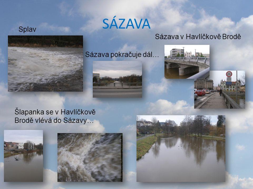 SÁZAVA Splav Sázava pokračuje dál… Sázava v Havlíčkově Brodě Šlapanka se v Havlíčkově Brodě vlévá do Sázavy…