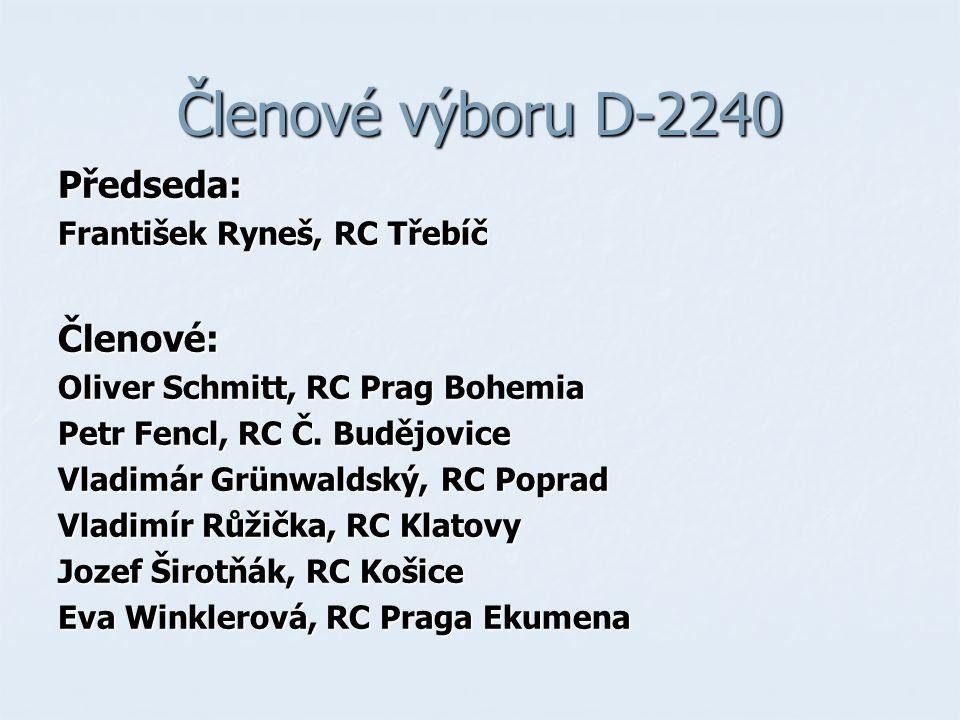 Členové výboru D-2240 Předseda: František Ryneš, RC Třebíč Členové: Oliver Schmitt, RC Prag Bohemia Petr Fencl, RC Č.