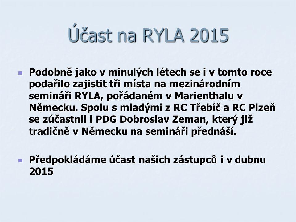 Účast na RYLA 2015 Podobně jako v minulých létech se i v tomto roce podařilo zajistit tři místa na mezinárodním semináři RYLA, pořádaném v Marienthalu v Německu.