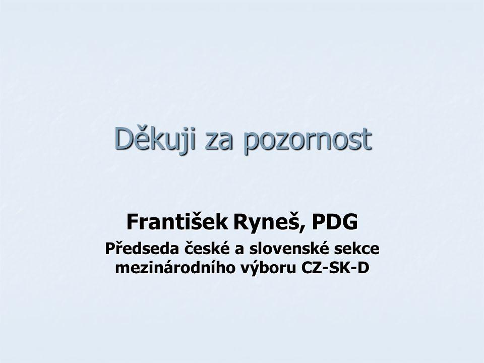Děkuji za pozornost František Ryneš, PDG Předseda české a slovenské sekce mezinárodního výboru CZ-SK-D