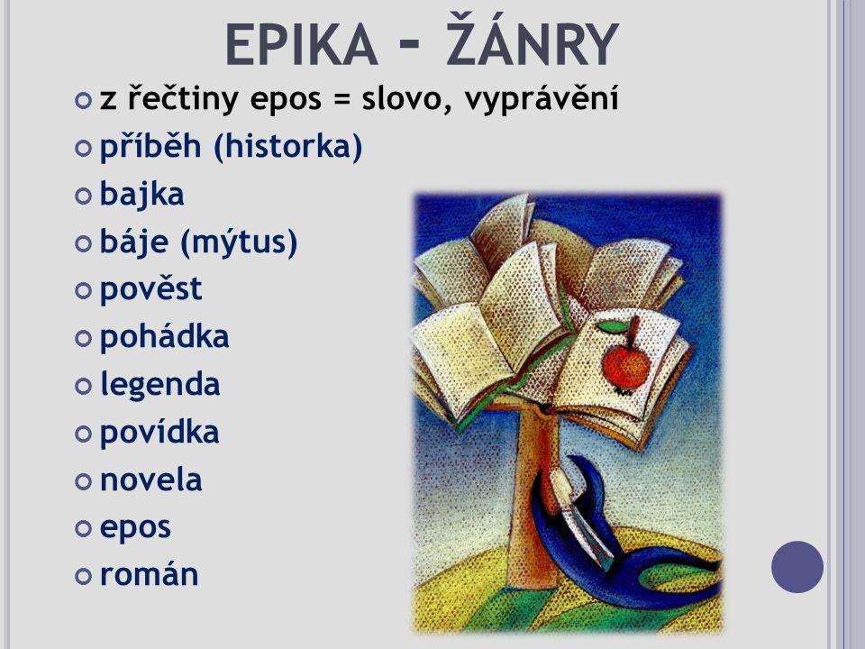 EPIKA - ŽÁNRY z řečtiny epos = slovo, vyprávění příběh (historka) bajka báje (mýtus) pověst pohádka legenda povídka novela epos román