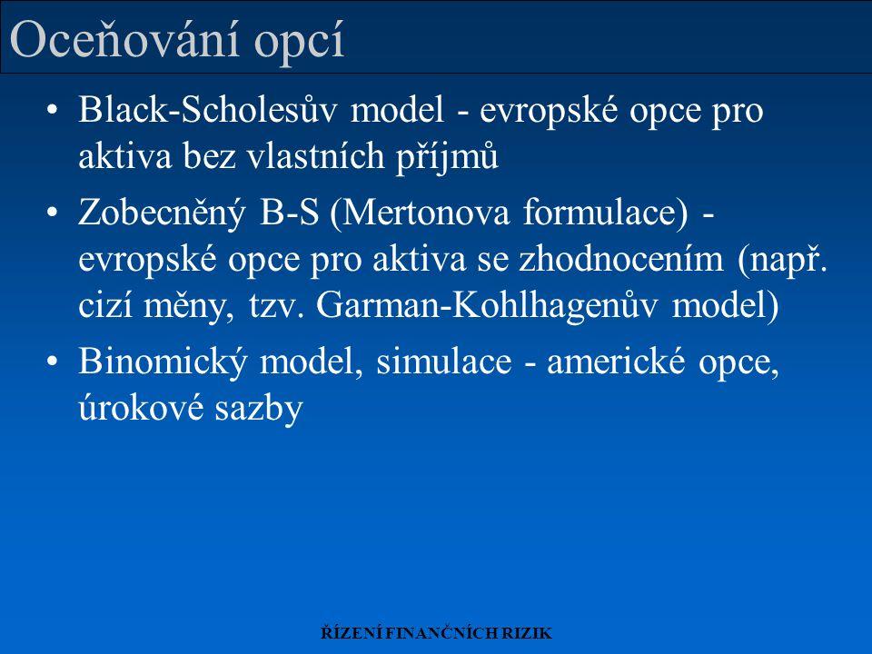 ŘÍZENÍ FINANČNÍCH RIZIK Oceňování opcí Black-Scholesův model - evropské opce pro aktiva bez vlastních příjmů Zobecněný B-S (Mertonova formulace) - evropské opce pro aktiva se zhodnocením (např.
