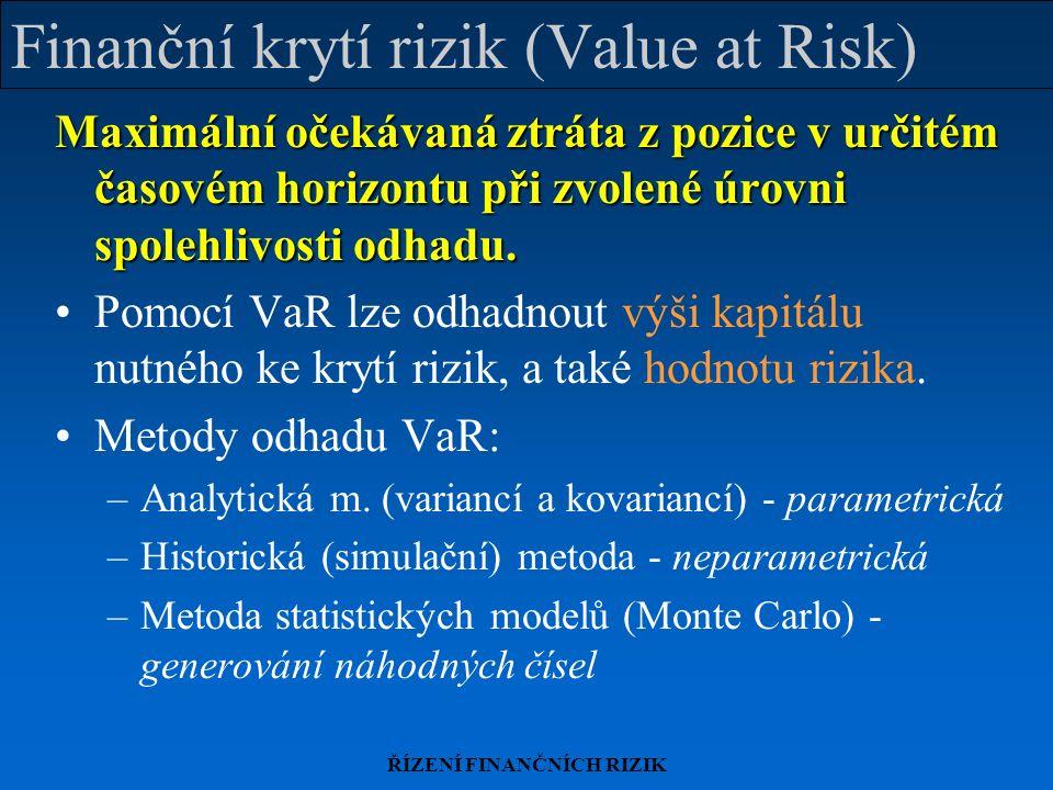 ŘÍZENÍ FINANČNÍCH RIZIK Finanční krytí rizik (Value at Risk) Maximální očekávaná ztráta z pozice v určitém časovém horizontu při zvolené úrovni spolehlivosti odhadu.