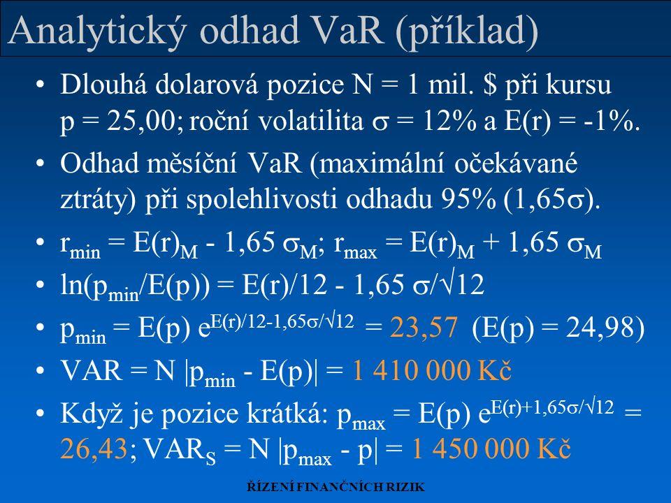 ŘÍZENÍ FINANČNÍCH RIZIK Analytický odhad VaR (příklad) Dlouhá dolarová pozice N = 1 mil. $ při kursu p = 25,00; roční volatilita  = 12% a E(r) = -1%.