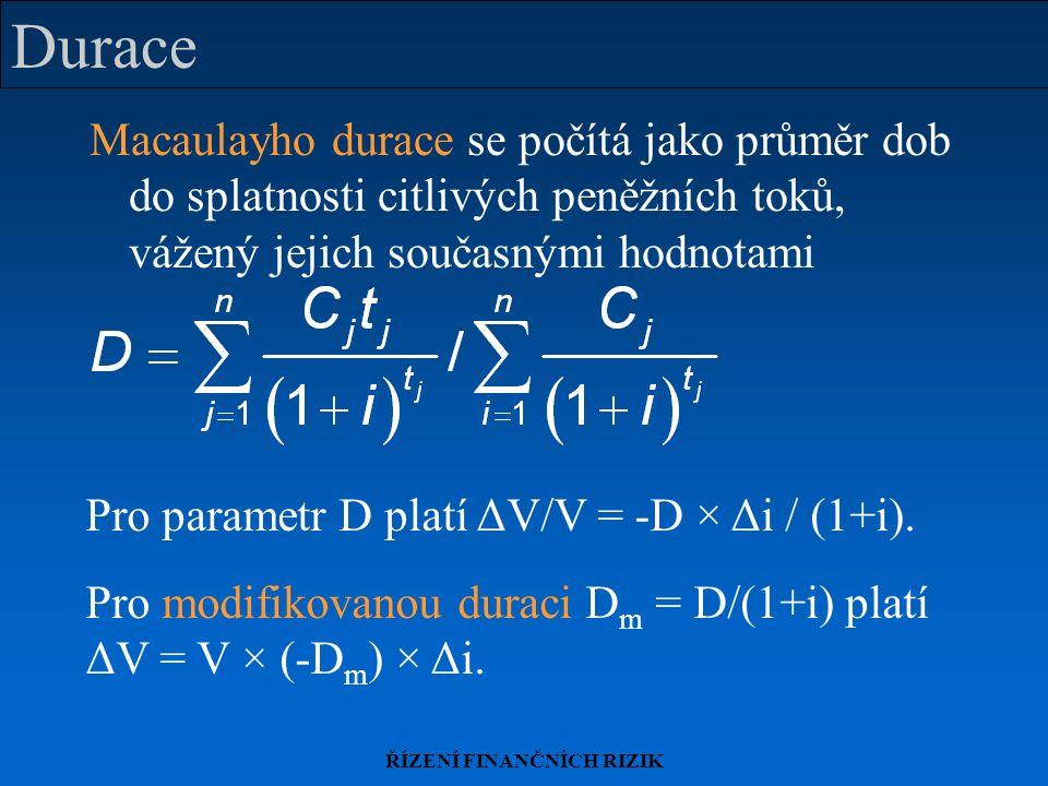 ŘÍZENÍ FINANČNÍCH RIZIK Durace Macaulayho durace se počítá jako průměr dob do splatnosti citlivých peněžních toků, vážený jejich současnými hodnotami Pro parametr D platí ΔV/V = -D × Δi / (1+i).