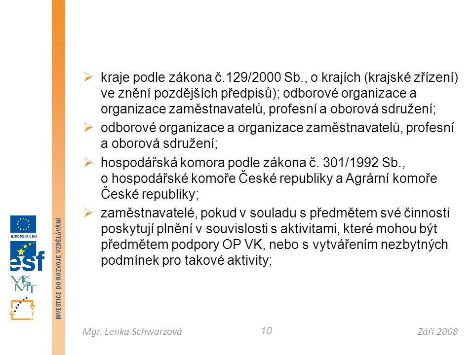 Září 2008Mgr. Lenka Schwarzová INVESTICE DO ROZVOJE VZDĚLÁVÁNÍ 10  kraje podle zákona č.129/2000 Sb., o krajích (krajské zřízení) ve znění pozdějších