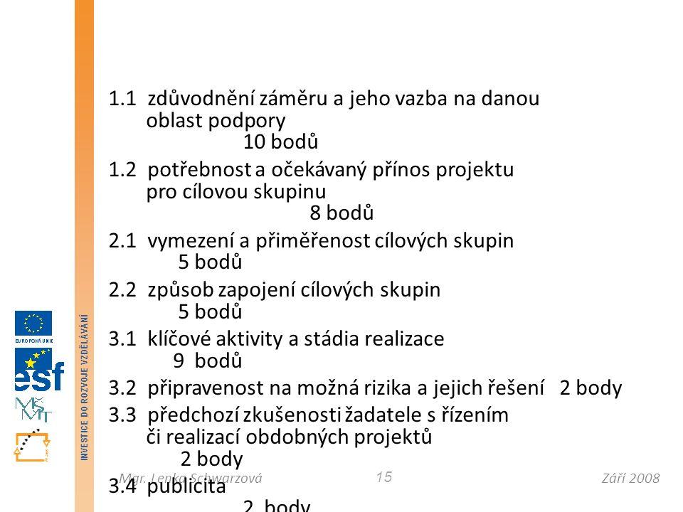 Září 2008Mgr. Lenka Schwarzová INVESTICE DO ROZVOJE VZDĚLÁVÁNÍ 15 1.1 zdůvodnění záměru a jeho vazba na danou oblast podpory 10 bodů 1.2 potřebnost a