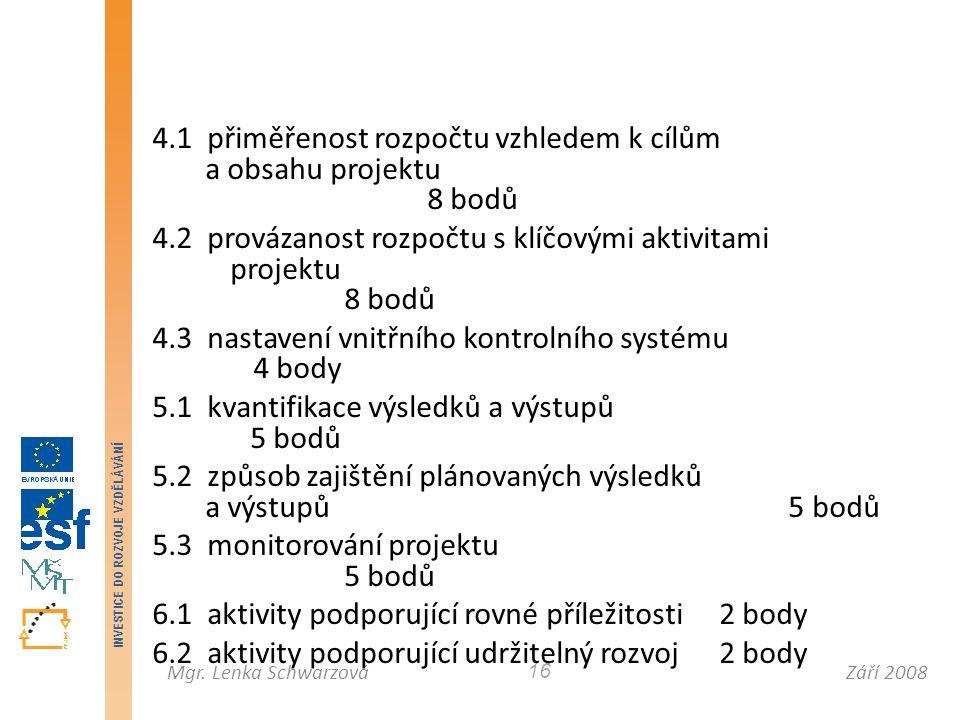 Září 2008Mgr. Lenka Schwarzová INVESTICE DO ROZVOJE VZDĚLÁVÁNÍ 16 4.1 přiměřenost rozpočtu vzhledem k cílům a obsahu projektu 8 bodů 4.2 provázanost r
