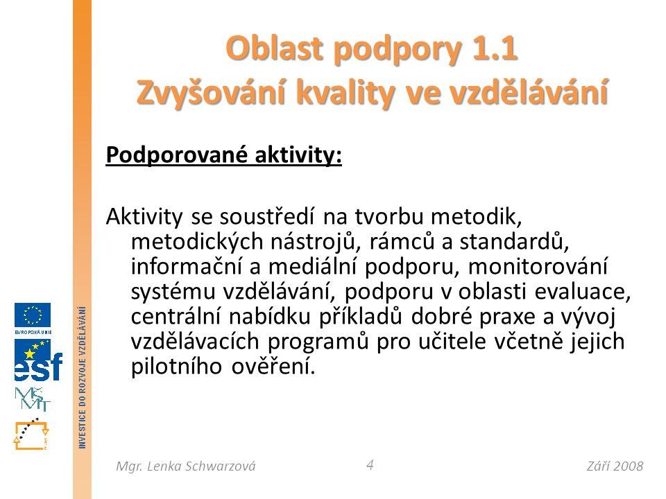 Září 2008Mgr. Lenka Schwarzová INVESTICE DO ROZVOJE VZDĚLÁVÁNÍ 4 Podporované aktivity: Aktivity se soustředí na tvorbu metodik, metodických nástrojů,
