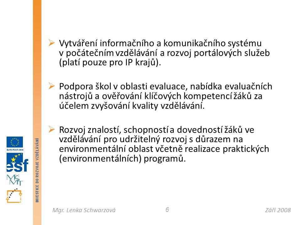 Září 2008Mgr. Lenka Schwarzová INVESTICE DO ROZVOJE VZDĚLÁVÁNÍ 6  Vytváření informačního a komunikačního systému v počátečním vzdělávání a rozvoj por