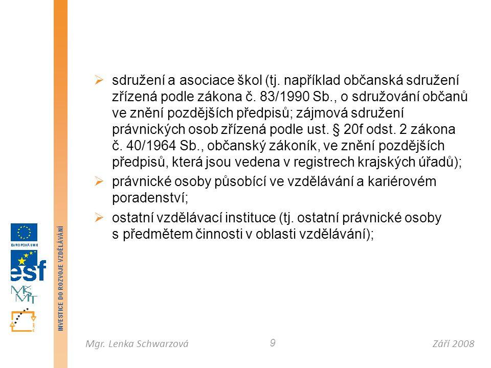 Září 2008Mgr. Lenka Schwarzová INVESTICE DO ROZVOJE VZDĚLÁVÁNÍ 9  sdružení a asociace škol (tj. například občanská sdružení zřízená podle zákona č. 8