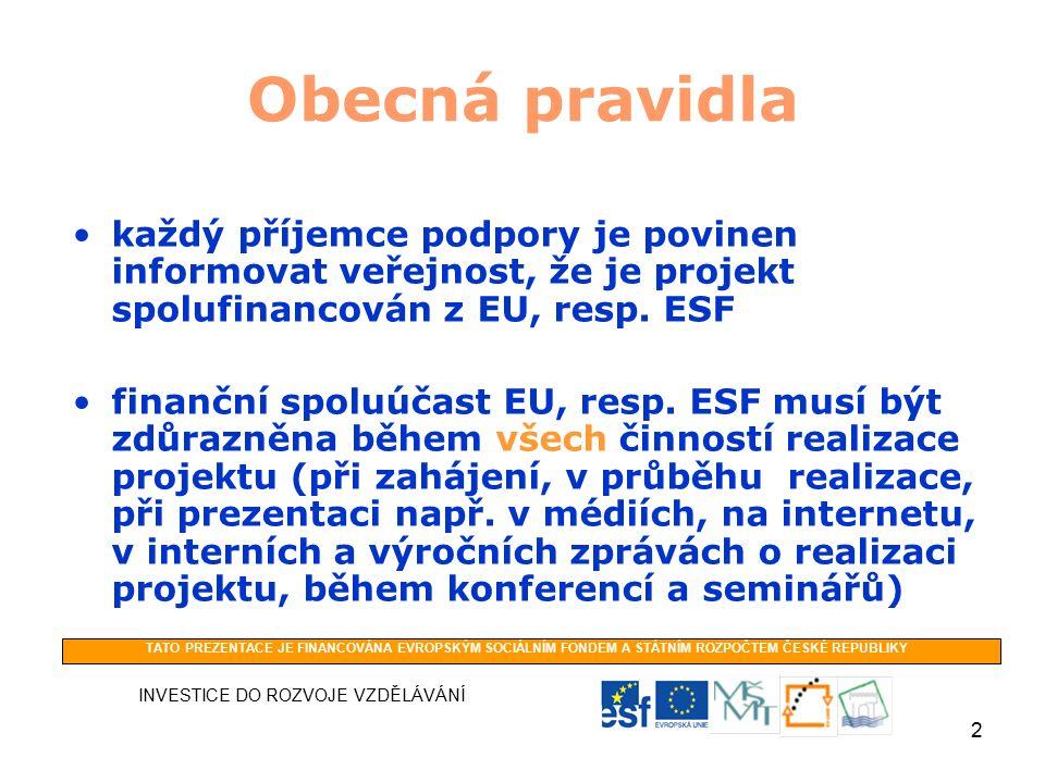 2 Obecná pravidla každý příjemce podpory je povinen informovat veřejnost, že je projekt spolufinancován z EU, resp.
