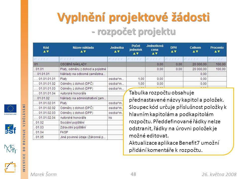 INVESTICE DO ROZVOJE VZDĚLÁVÁNÍ 26. května 2008Marek Šorm Vyplnění projektové žádosti - rozpočet projektu 48 Tabulka rozpočtu obsahuje přednastavené n