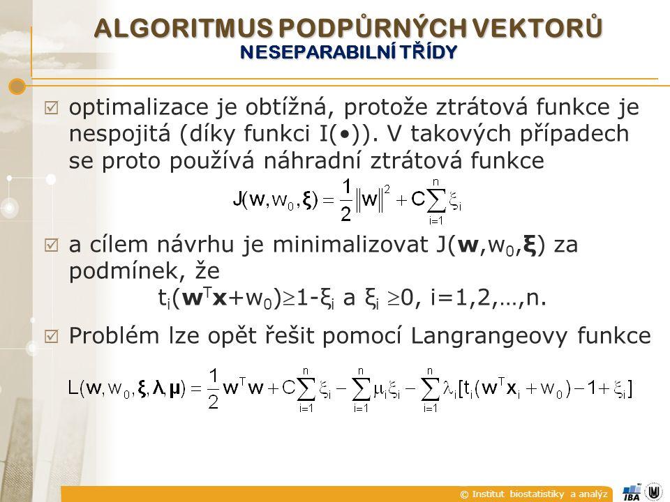 © Institut biostatistiky a analýz  optimalizace je obtížná, protože ztrátová funkce je nespojitá (díky funkci I()). V takových případech se proto pou