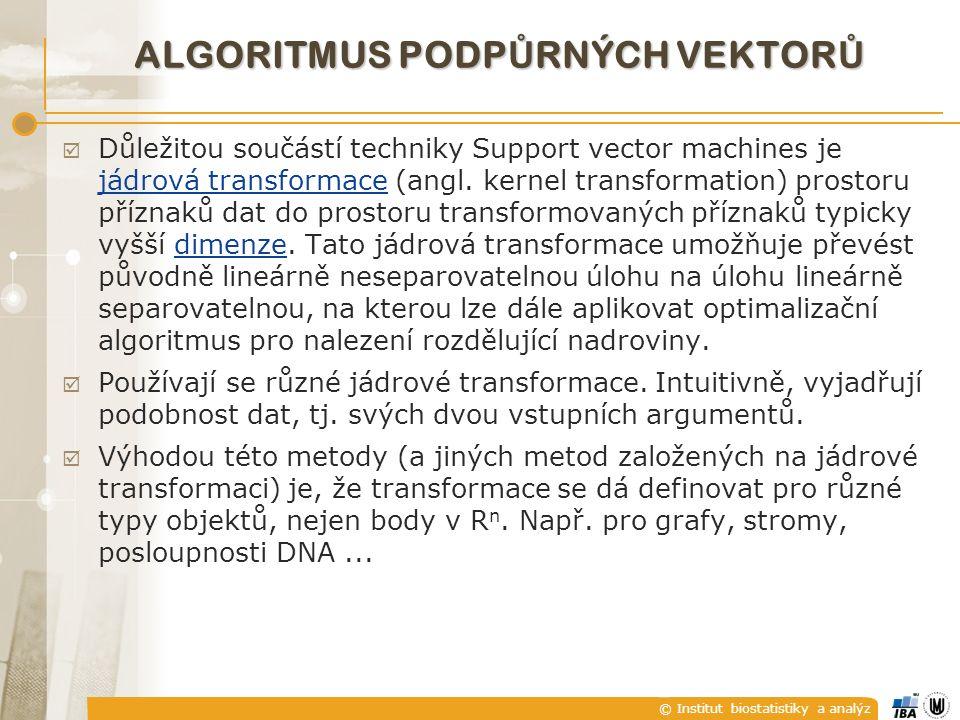 © Institut biostatistiky a analýz ALGORITMUS PODP Ů RNÝCH VEKTOR Ů  Důležitou součástí techniky Support vector machines je jádrová transformace (angl