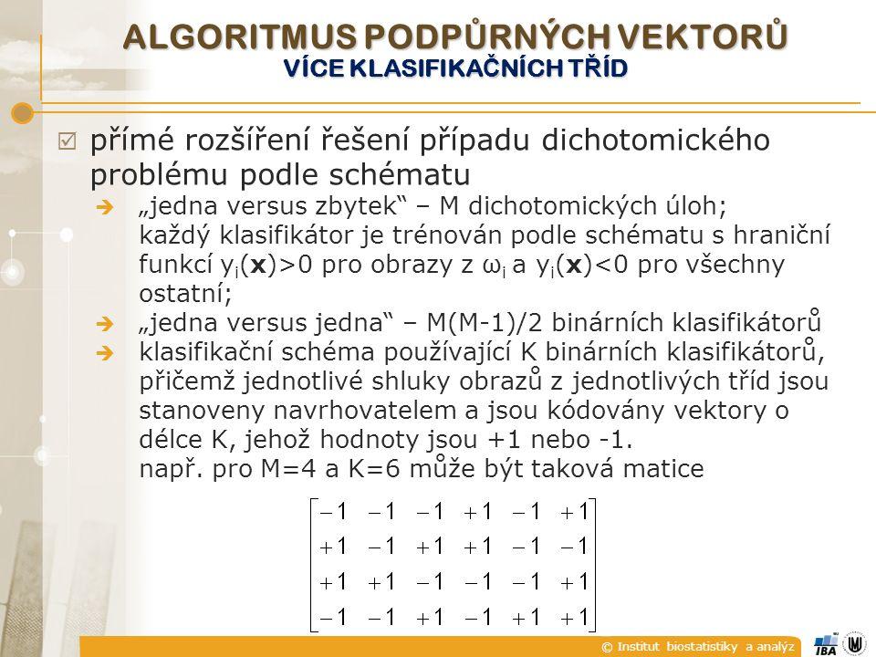 """© Institut biostatistiky a analýz  přímé rozšíření řešení případu dichotomického problému podle schématu  """"jedna versus zbytek – M dichotomických úloh; každý klasifikátor je trénován podle schématu s hraniční funkcí y i (x)>0 pro obrazy z ω i a y i (x)<0 pro všechny ostatní;  """"jedna versus jedna – M(M-1)/2 binárních klasifikátorů  klasifikační schéma používající K binárních klasifikátorů, přičemž jednotlivé shluky obrazů z jednotlivých tříd jsou stanoveny navrhovatelem a jsou kódovány vektory o délce K, jehož hodnoty jsou +1 nebo -1."""