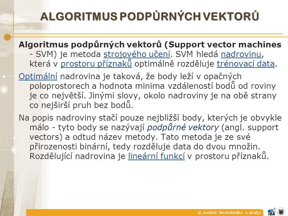 © Institut biostatistiky a analýz ALGORITMUS PODP Ů RNÝCH VEKTOR Ů Algoritmus podpůrných vektorů (Support vector machines - SVM) je metoda strojového učení.