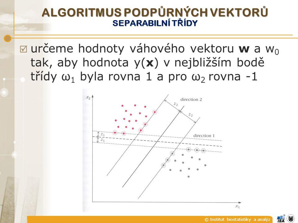 © Institut biostatistiky a analýz  určeme hodnoty váhového vektoru w a w 0 tak, aby hodnota y(x) v nejbližším bodě třídy ω 1 byla rovna 1 a pro ω 2 rovna -1 ALGORITMUS PODP Ů RNÝCH VEKTOR Ů SEPARABILNÍ T Ř ÍDY