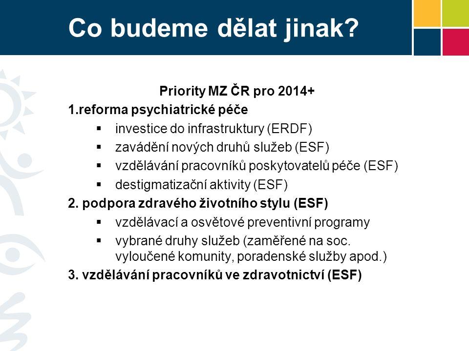 Co budeme dělat jinak? Priority MZ ČR pro 2014+  reforma psychiatrické péče  investice do infrastruktury (ERDF)  zavádění nových druhů služeb (ESF
